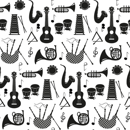 Seamless pattern with musical instruments on the white background. Vector illustration. Vector Illustration