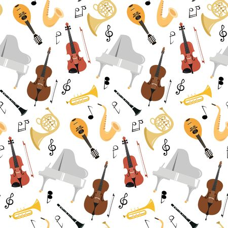 Seamless pattern with musical instruments on the white background. Vector illustration.