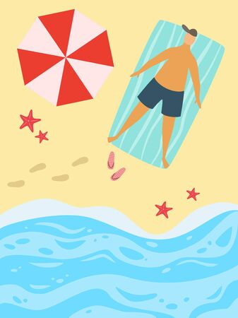 Cartoon background of sea shore. Vector illusyration.
