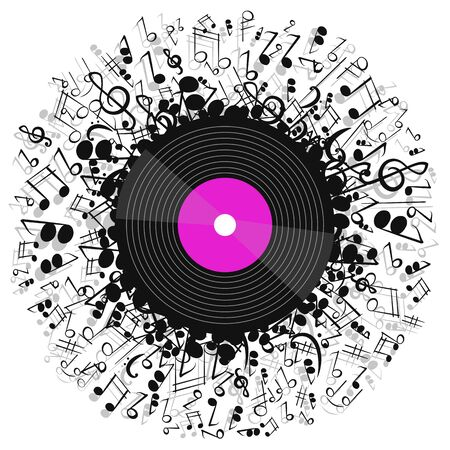 Music poster with vinyl record and music notes. Vector Illustration.