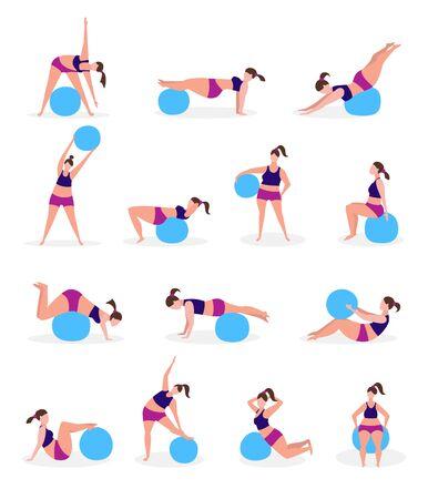 Satz junge Frauen mit Gymnastikbällen. Gesundes Lebensstilkonzept. Vektor-Illustration.