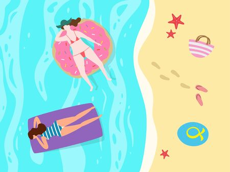 Cartoon background of sea shore with women.