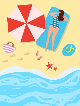 Cartoon  background of sea shore with woman. Ilustração