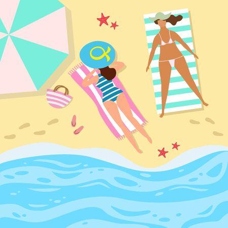 Cartoon  background of sea shore with women. Ilustração