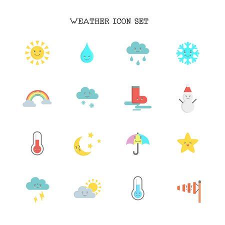 Weather icon set on white background. Ilustração