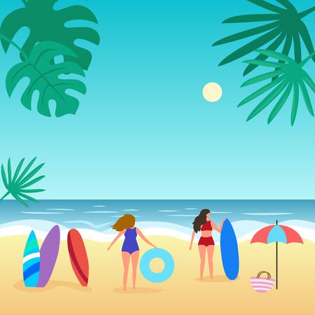 Summer seascape with palm tree and people.