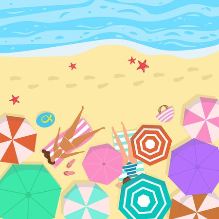 Summer seascape with umbrellas and people. Illustration