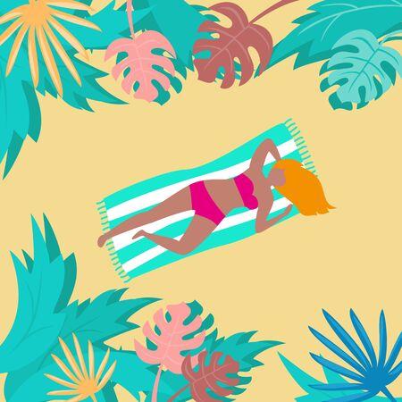 Summer landscape with tropical plants and tourists. Ilustração