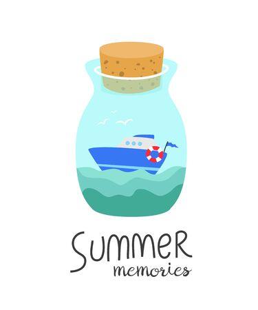 Cartoon bottle with summer memories.