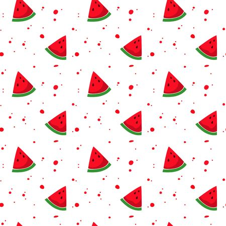 Seamless pattern with colorful watermelon. Vector illustration.