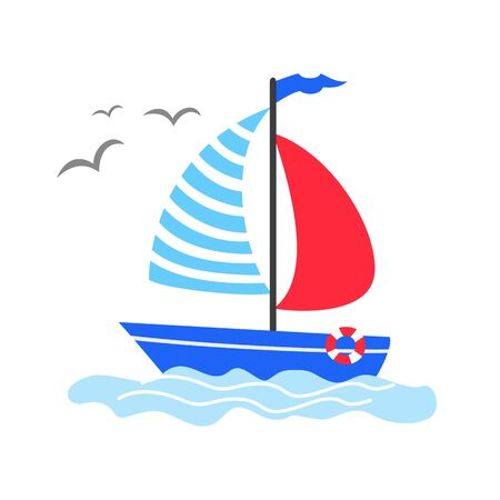 Cute cartoon sailboat on the white background.