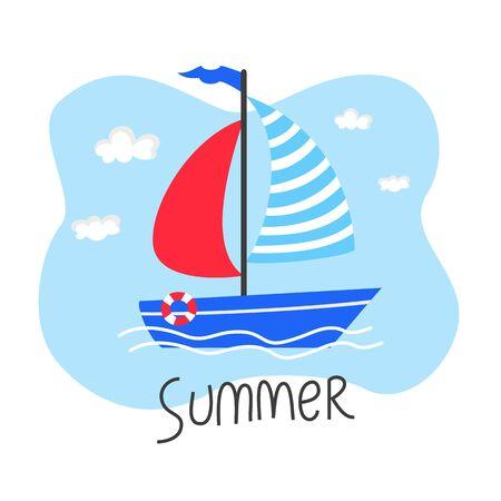 Cute cartoon sailboat on the sea background. Ilustração