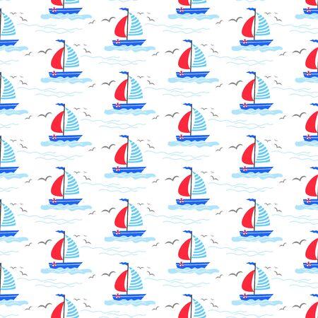 Seamless pattern with cartoon sailboats.