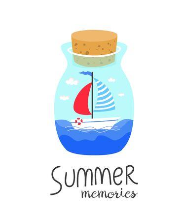 Cartoon bottle with summer memories. Ilustração