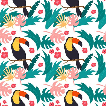 Seamless pattern with colorful toucans. Vector illustration.