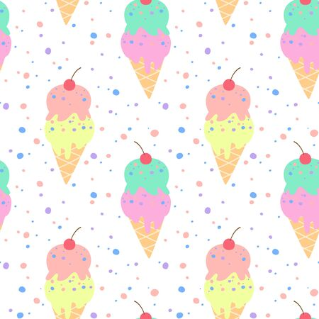Seamless pattern with colorful ice cream. Vector illustration.