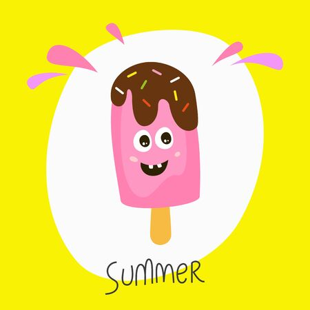 Cute funny ice cream on the white background.