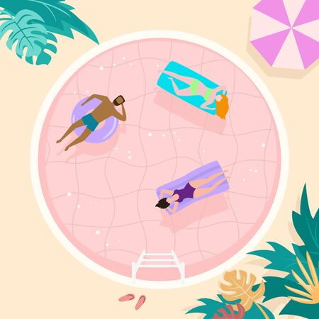 Summer landscape with happy tourists in the pool. Vector illustration.