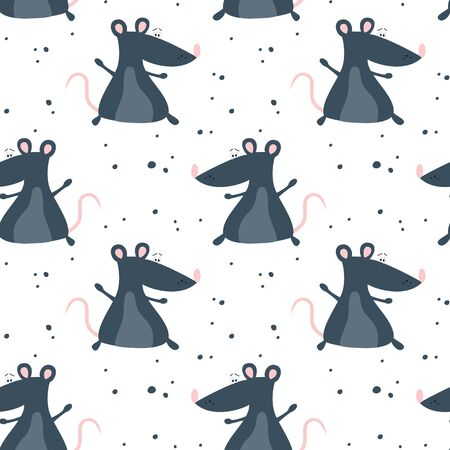 Seamless pattern with cute rats, symbol of 2020 year. Chinese New Year. Vector illustration. 일러스트