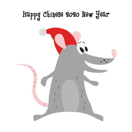 Cartoon cute rat, symbol of 2020 year. Chinese New Year.