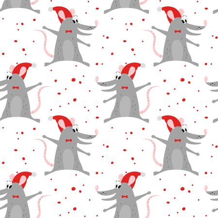 Seamless pattern with cute mouses. 일러스트