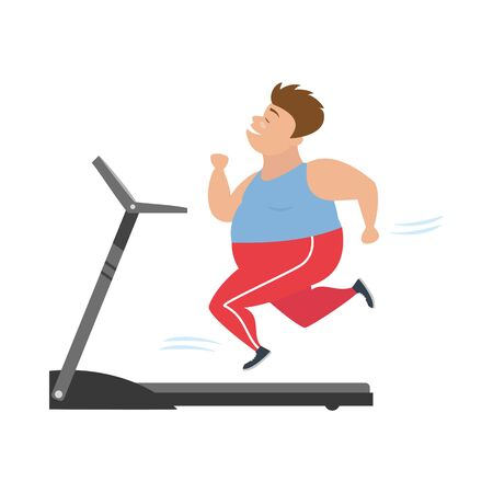 Cartoon man  runs on treadmill.