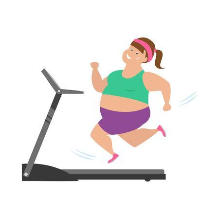 Cartoon woman  runs on treadmill.