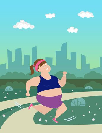 Cartoon woman  runs in park. 일러스트