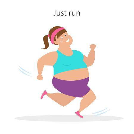 Cartoon woman  runs on white background.