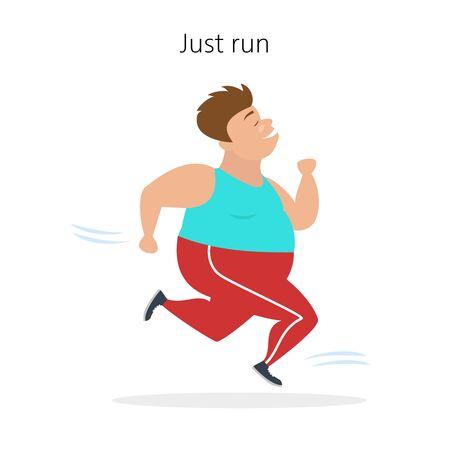 Cartoon man runs on white background.