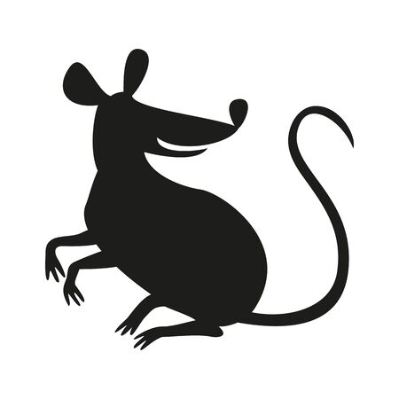 The black silhouette of rat or mouse on white background. Vector illustration.