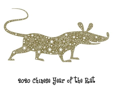 The silhouette of rat or mouse with snowflakes. Symbol of 2020 Chinese Year. Vector illustration.