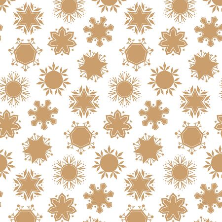 Pattern with cute snowflakes. Vector illustration.