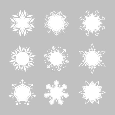 Set of different cute snowflakes. Vector illustration. 일러스트