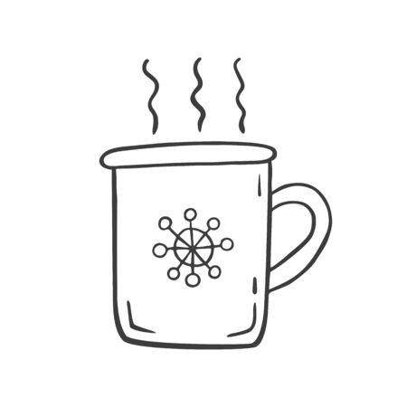 Christmas drink mug. New Year illustration. Vector illustration.