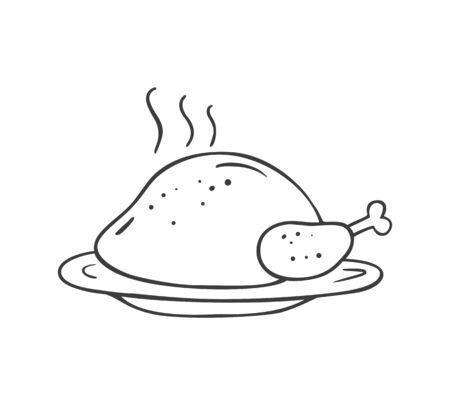 hristmas Turquie dans le style de croquis de doodle. Illustration vectorielle.