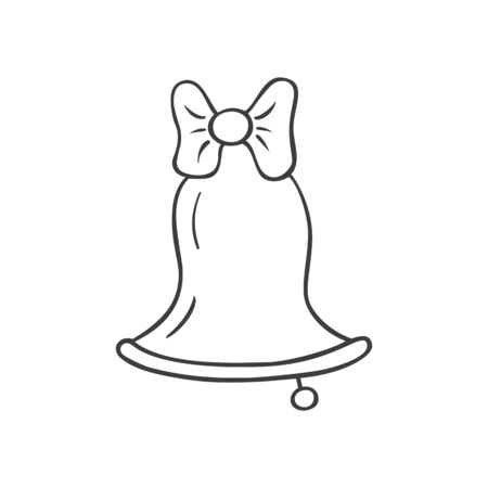 Christmas bell in doodle sketch style. Vector illustration.