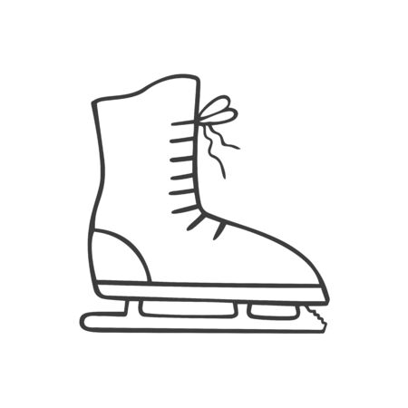 Ice skates in doodle sketch style. Vector illustration.