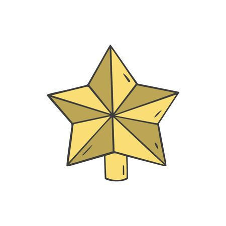 Christmas star decoration in doodle sketch style. Vector illustration. 일러스트