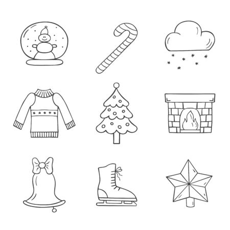 Set of christmas icons in doodle sketch style. Vector illustration.