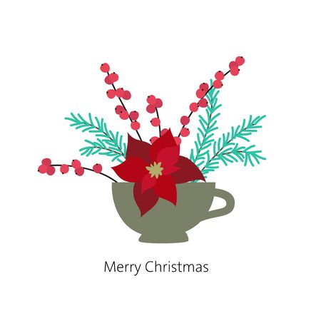 Cristmas floral bouquet with poinsettia and fir branches. Vector Illustration.
