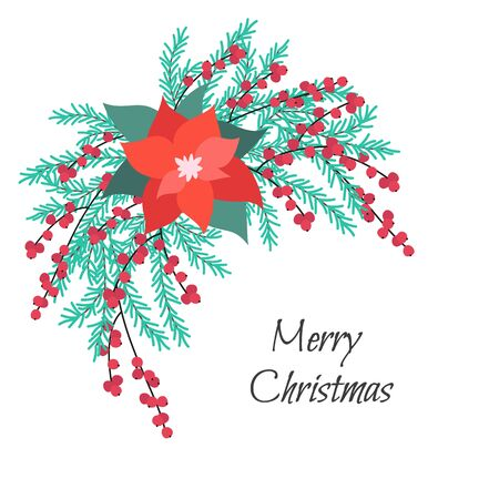 Cristmas floral bouquet with poinsettia and fir branches. Vector Illustration.  일러스트