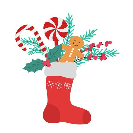 Christmas colorful sock with presents. Vector illustration.