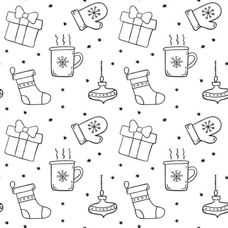 Seamless pattern christmas icons in doodle sketch style. Vector illustration.