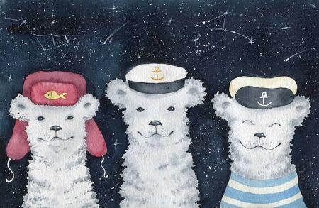 Winter colorful card. Polar bears. Watercolor illustration.