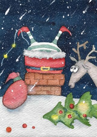 Christmas colorful card. Santa Claus stuck in the chimney. Watercolor illustration.