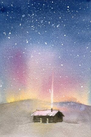 Winter card. House in the snow and the northern lights. Watercolor illustration.