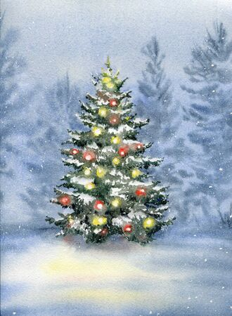 Christmas tree decorated with balls in the winter forest. Watercolor illustration.  스톡 콘텐츠