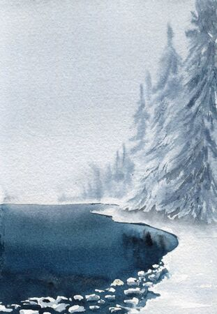 Winter card. Lake and forest in the snow. Watercolor illustration.