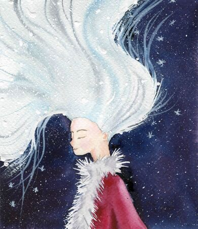 Christmas colorful card. Girl with white hair. Magic winter fairy tale. Watercolor illustration.